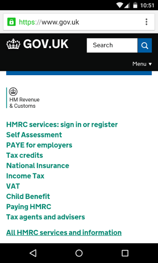 Screenshot of HMRC website on a mobile device.