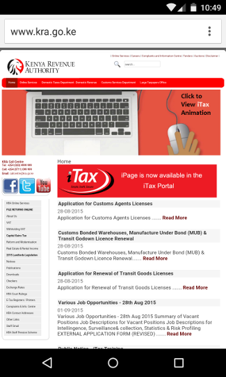 Screenshot of Kenya Revenue Authority (KRA) website on a mobile device.